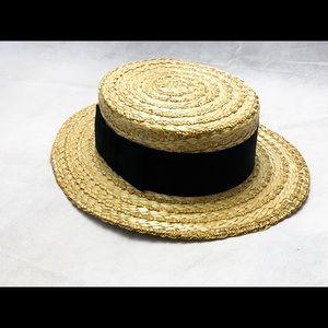 Great Gatsby Straw Boater Hat Black Ribbon